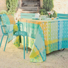 Mille Colibris Maldives Coated Stain-Resistant Damask Table Linens | Gracious Style