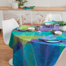 "Mille Fiori Sous Bois Tablecloth Square 69""x69"", Coated Cotton 