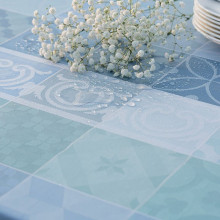 Mille Tiles Bleu Lagon Coated Stain-Resistant Damask Table Linens | Gracious Style