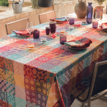 "Mille Tiles Multicoloured Tablecloth Square 69""x69"", Coated Cotton 