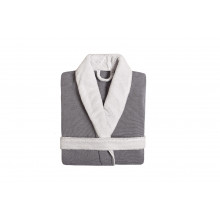 Double Tone Shawl Collar Bathrobe Navy | Gracious Style