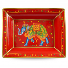 Ceremonial Indian Elephant Red Trinket Tray | Gracious Style