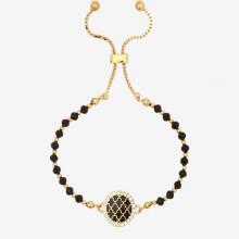 Agama Sparkle Beads Black Gold 6mm Friendship Bangle | Gracious Style