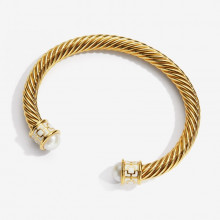 Maya Ivory Gold Torque Bangle | Gracious Style