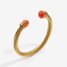 Maya Orange Gold Torque Bangle | Gracious Style