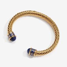 Maya Deep Cobalt Gold Torque Bangle | Gracious Style