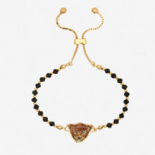 Leopard Head Beads Black Gold Friendship Bangle | Gracious Style