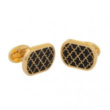 Agama Rectangular Black Gold Cufflinks | Gracious Style
