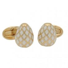Agama Egg Cream Gold Cufflinks | Gracious Style