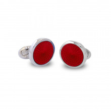 Agama Engine Turned Red Sterling Silver Cufflinks | Gracious Style