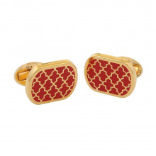 Agama Rectangular Red Gold Cufflinks | Gracious Style