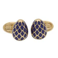 Agama Egg Deep Cobalt Gold Cufflinks | Gracious Style