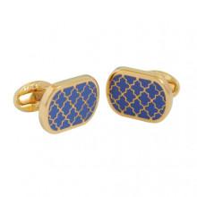 Agama Rectangular Deep Cobalt Gold Cufflinks | Gracious Style