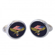 American Eagle Sterling Silver Hand Painted Enamel Cufflinks | Gracious Style