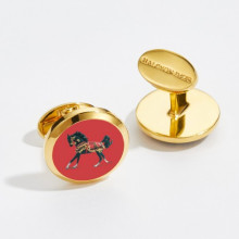 Arabian Horse Round Hand Decorated Gold Cufflinks | Gracious Style