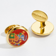 Ceremonial Indian Elephant Red Round Hand Decorated Gold Cufflinks | Gracious Style