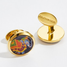 Ceremonial Indian Elephant Blue Round Hand Decorated Gold Cufflinks | Gracious Style