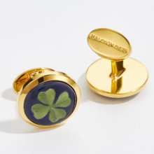 Clover Round Hand Decorated Gold Cufflinks | Gracious Style