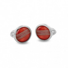Cricket Ball Round Hand Decorated Palladium Cufflinks | Gracious Style