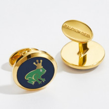 Frog Prince Round Hand Decorated Gold Cufflinks | Gracious Style