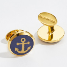 Hand Decorated Gold Anchor Round Hand Decorated Gold Cufflinks | Gracious Style