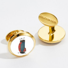 1920's Golfers Bag Round Hand Decorated Gold Cufflinks | Gracious Style