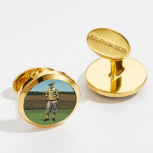 1920's Golfer Round Hand Decorated Gold Cufflinks | Gracious Style