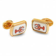 Lobster Rectangular Hand Decorated Gold Cufflinks | Gracious Style