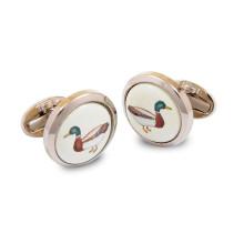 Mallard Round Hand Decorated Palladium Cufflinks | Gracious Style