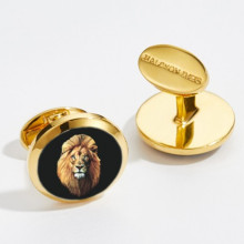 Lion Head Round Hand Decorated Gold Cufflinks | Gracious Style