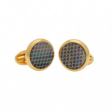Mother of Pearl Salamander Black Gold Round Cufflinks | Gracious Style