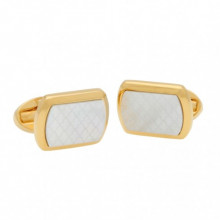 Mother of Pearl Agama Cream Gold Rectangular Cufflinks | Gracious Style