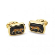 Magnificent Wildlife Tiger Black Rectangular Hand Decorated Gold Cufflinks | Gracious Style