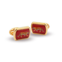 Magnificent Wildlife Tiger Red Rectangular Hand Decorated Gold Cufflinks | Gracious Style