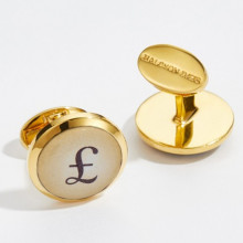 Pound & Dollar Round Hand Decorated Gold Cufflinks | Gracious Style
