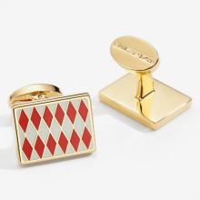 Parterre Red Cream Gold Rectangular Cufflinks | Gracious Style