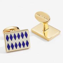 Parterre Deep Cobalt Cream Gold Rectangular Cufflinks | Gracious Style