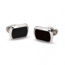 Black Rectangular Plain Palladium Cufflinks | Gracious Style