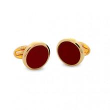 Deep Red Round Plain Gold Cufflinks | Gracious Style