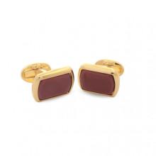 Deep Red Rectangular Plain Gold Cufflinks | Gracious Style