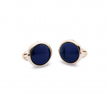 Cobalt Blue Round Plain Palladium Cufflinks | Gracious Style