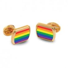 Rainbow Rectangular Hand Decorated Gold Cufflinks | Gracious Style
