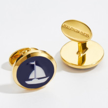 Sailing Boat Round Hand Decorated Gold Cufflinks | Gracious Style