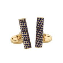 Salamander Single Tube Deep Cobalt Gold Cufflinks | Gracious Style