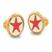 Star Fish Round Hand Decorated Gold Cufflinks | Gracious Style