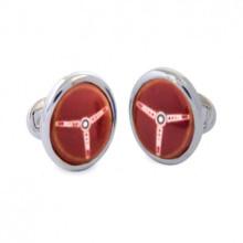 Steering Wheel Red Sterling Silver Hand Painted Enamel Cufflinks | Gracious Style