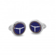 Steering Wheel Blue Round Hand Decorated Palladium Cufflinks | Gracious Style