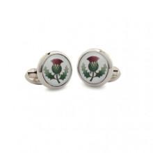 Thistle Round Hand Decorated Palladium Cufflinks | Gracious Style