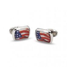 USA Flag Rectangular Hand Decorated Palladium Cufflinks | Gracious Style