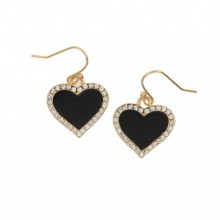 Heart Sparkle Black Gold Earrings | Gracious Style